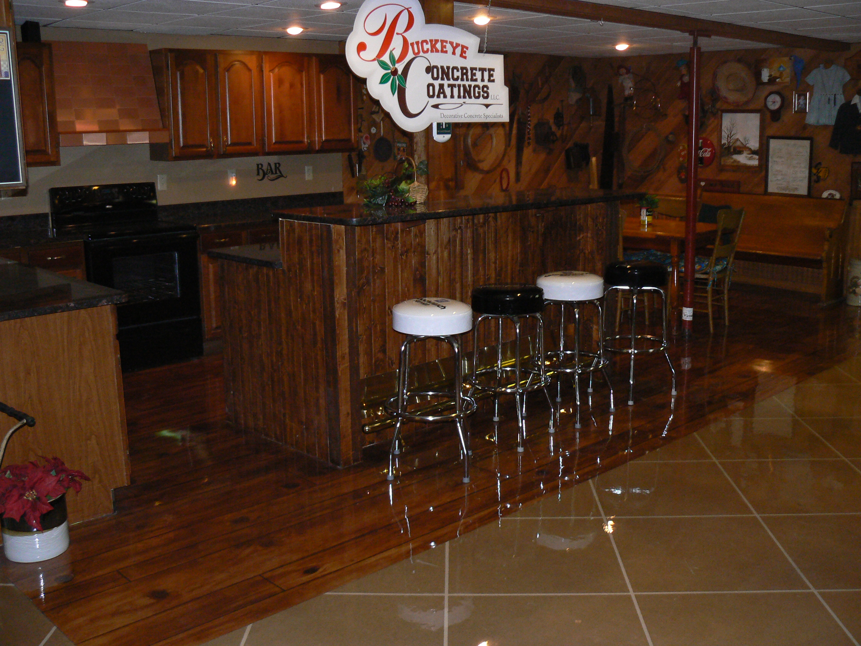 Basement Wood Floor And Stained Tile Floor Near